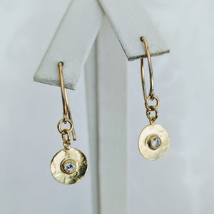 14k gf Marquise earwire w/CZ disk earrings