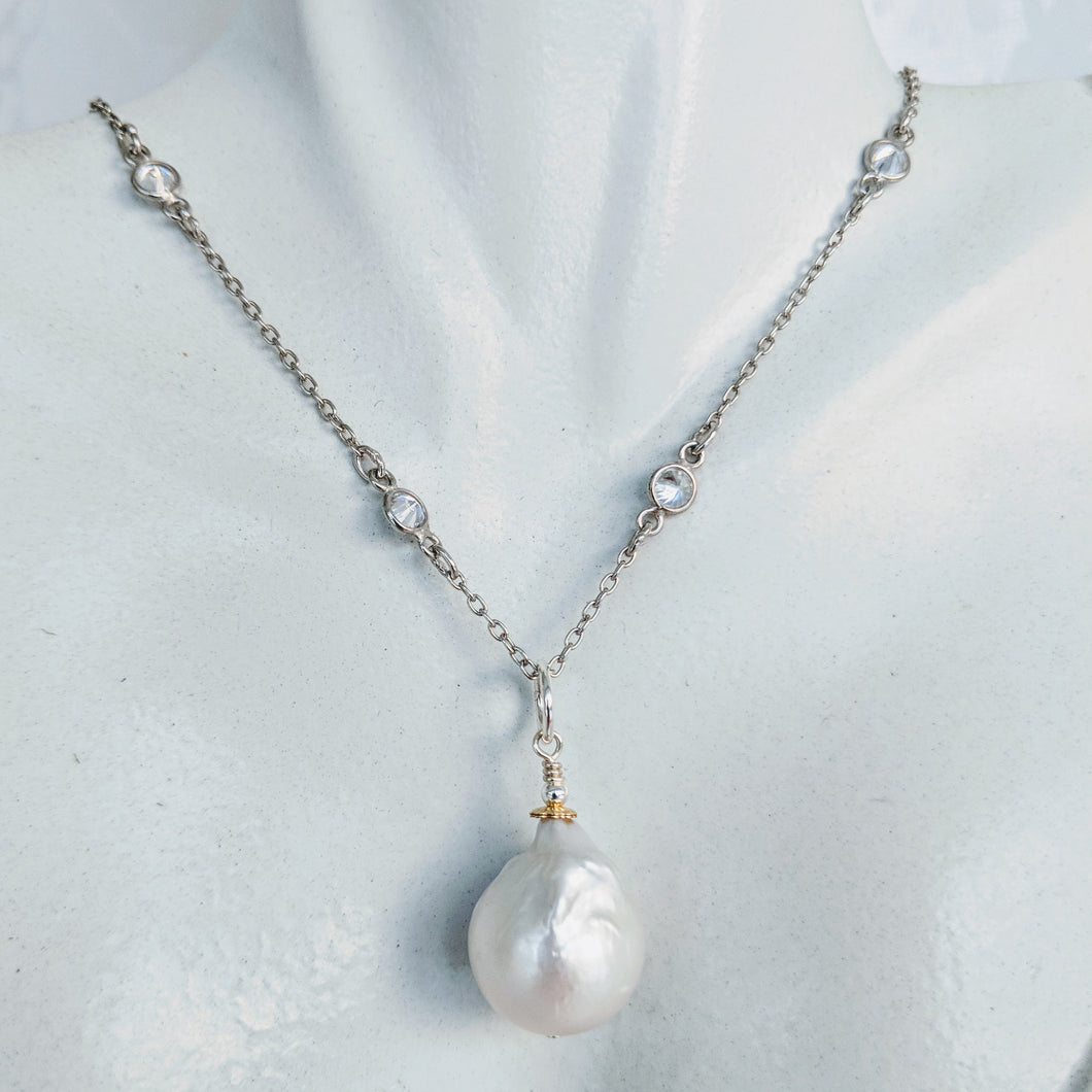 Sterling silver and CZ chain with BAroque pearl pendant