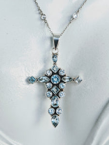 Sterling and CZ chain necklace with Blue Topaz cross