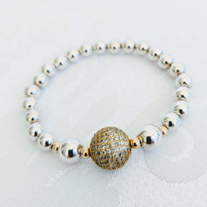 Sterling silver balls with gold CZ ball