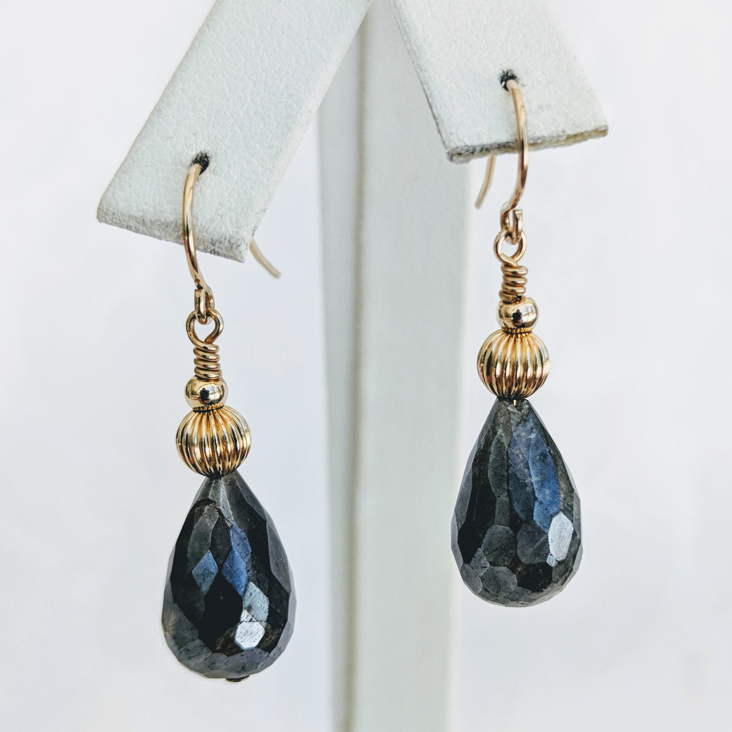Faceted Labradorite and gold earrings