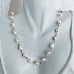 Baby Baroque freshwater pearl hand-link necklace
