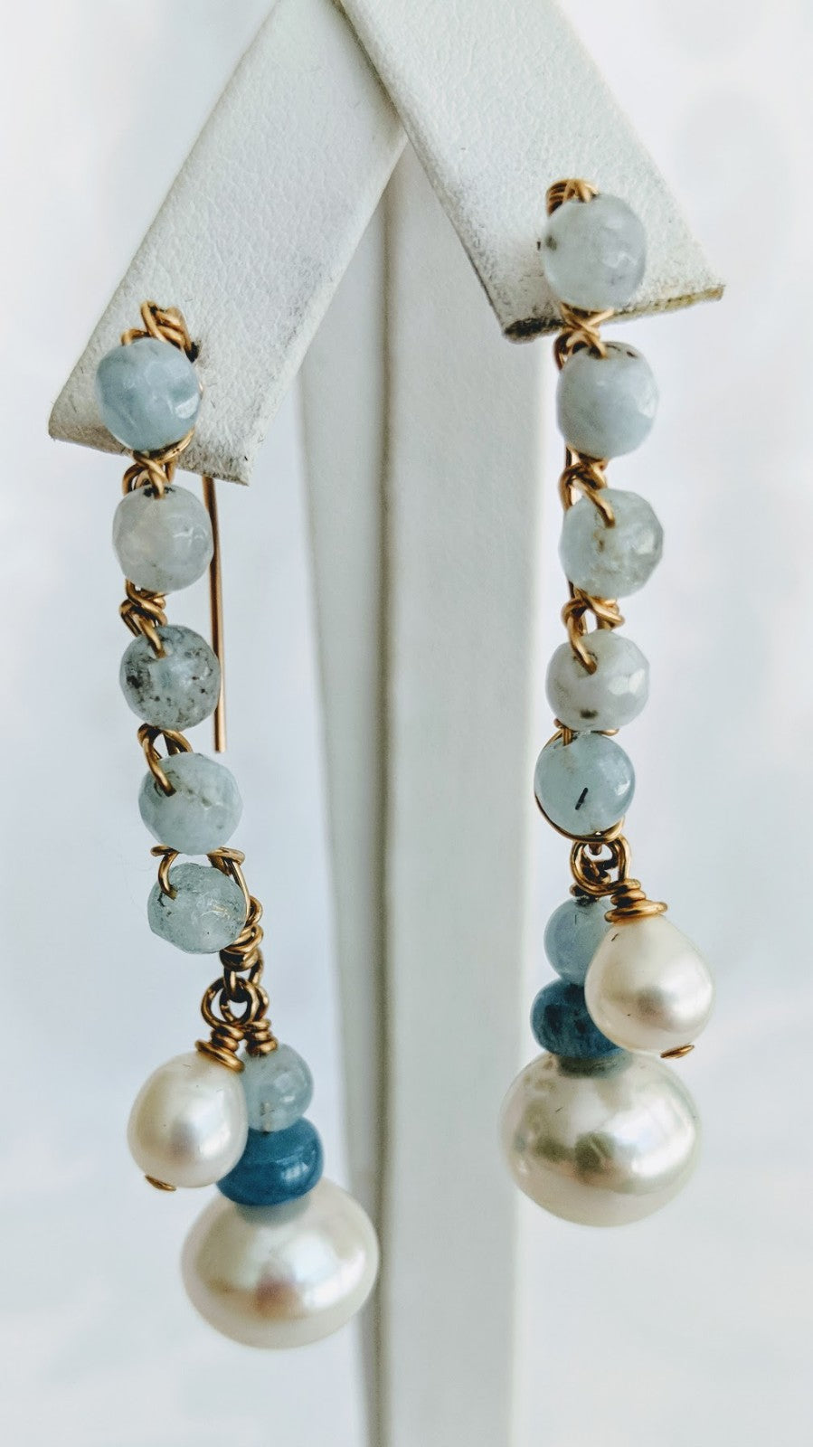 Aquamarine and pearl wired earrings