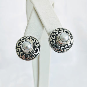 Sterling silver filagree pearl post earrings