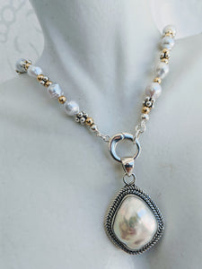 Baby Baroque freshwater pearl necklace with silver caviar and 14k gold fill