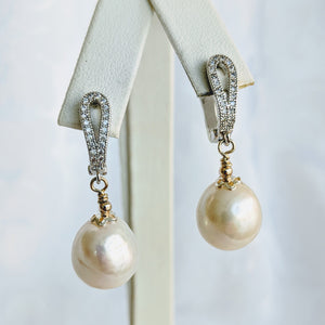 Baroque freshwater pearl earrings with silver/cubic zirconia post