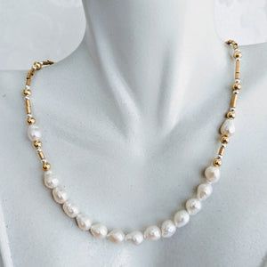 Baby Baroque freshwater pearl collar necklace - available in Sterling silver