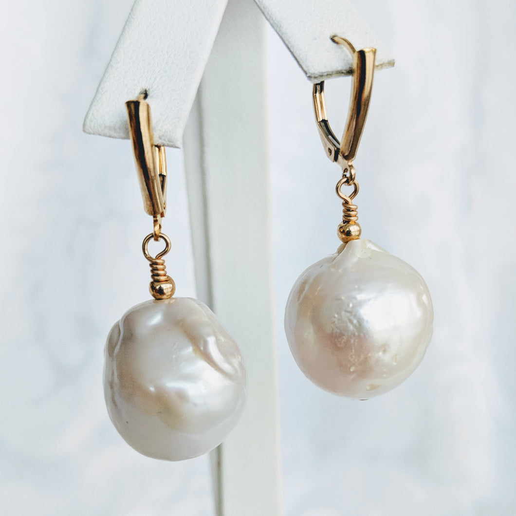 Baroque freshwater pearl earrings with gold