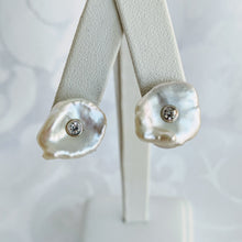 Load image into Gallery viewer, Keshi pearl w/Sterling silver and cubic zirconia