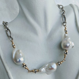 Heavy oxidized Sterling silver chain with handlinked large Baroque pearls necklace