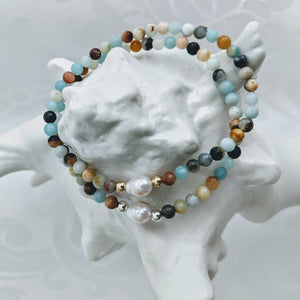 Petite Amazonite and Baby Baroque pearl bracelet