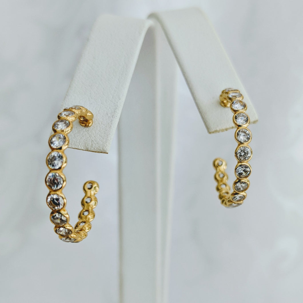 Gold vermeil cubic zirconia hoop earrings