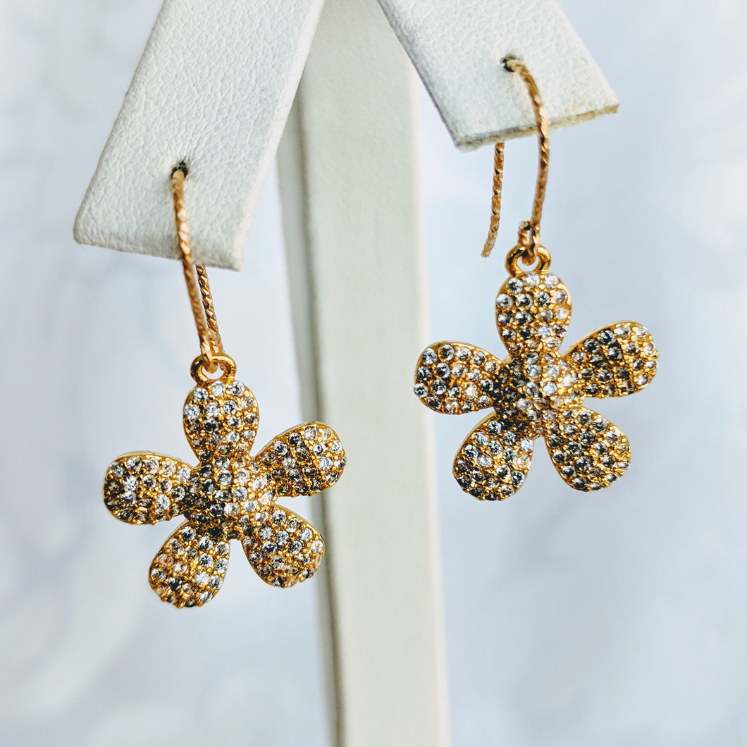Gold plate flower cubic zirconia earrings