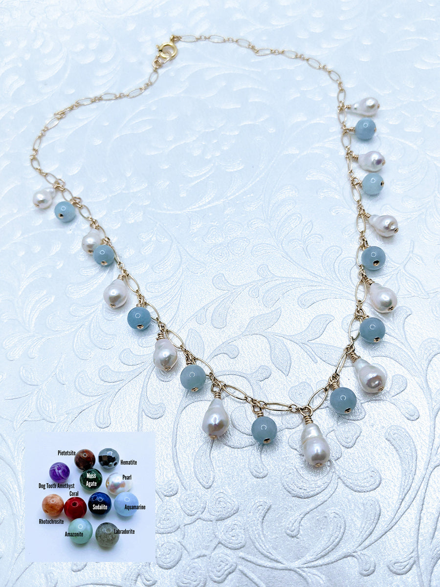 Delicate gold chain with petite baroque pearls & aquamarine shown (see all gem options).