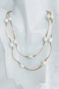 Long Keshi pearl and 14k gf tube necklace