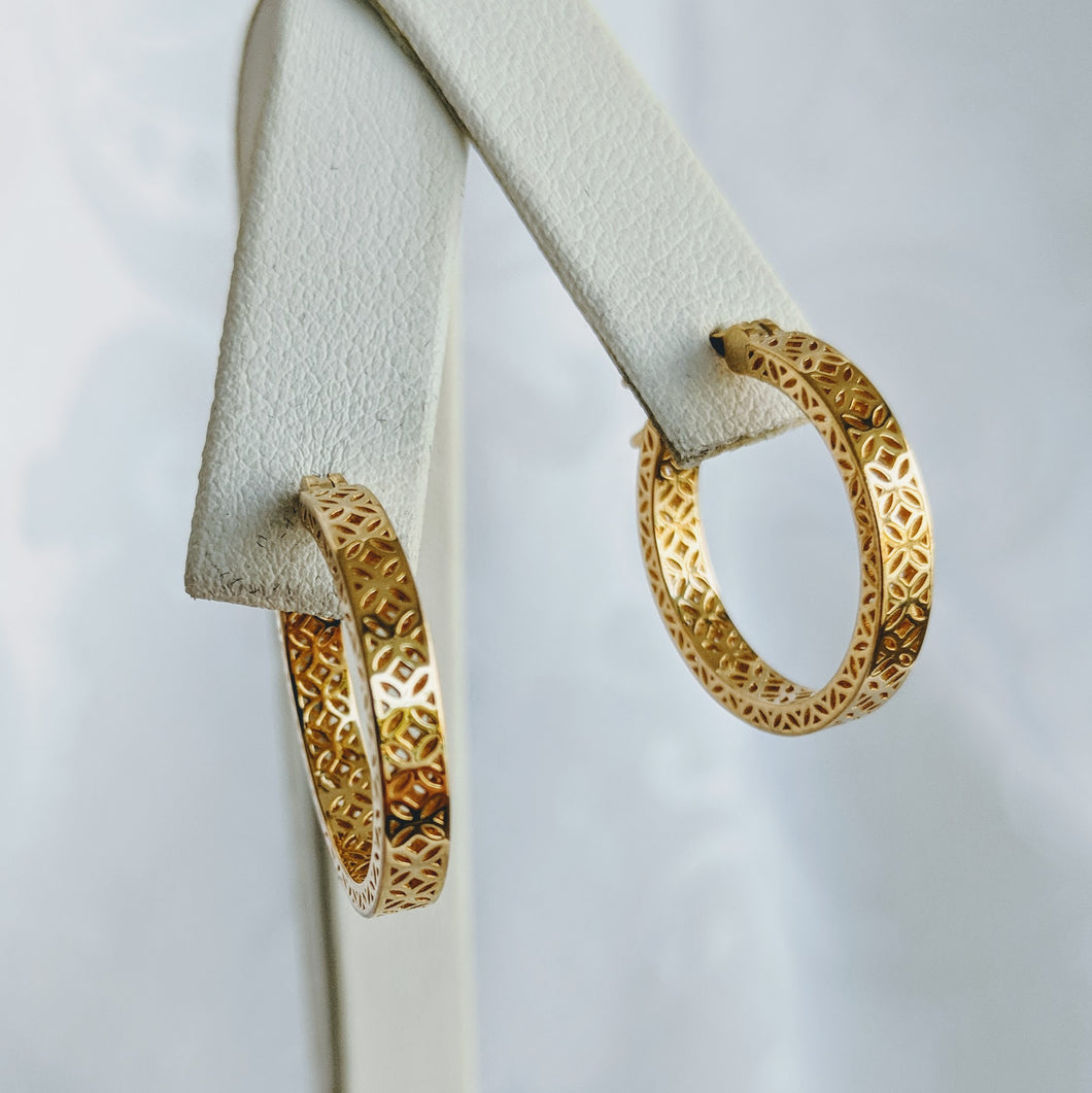 Gold vermeil filagree hoop earrings