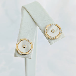 Gold vermeil, Mother of Pearl earrings w/cubic zirconia post (10mm)