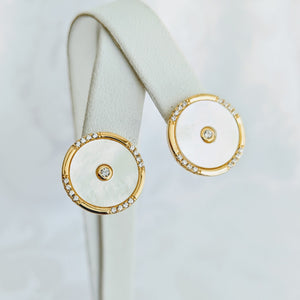 Gold vermeil, Mother of Pearl w/cubic zirconia post (15mm)