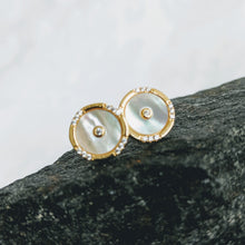 Load image into Gallery viewer, Gold vermeil, Mother of Pearl earrings w/cubic zirconia post (10mm)