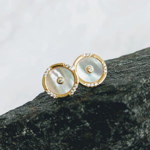 Gold vermeil, Mother of Pearl w/CZ post (10mm)