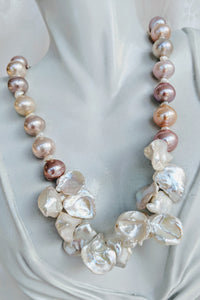 Natural tri-colored pink tone pearl necklace