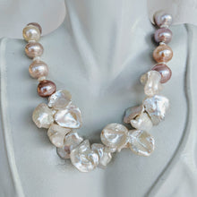 Load image into Gallery viewer, Natural tri-colored pink tone pearl necklace