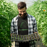 Man holding plants wearing a black and green tee
