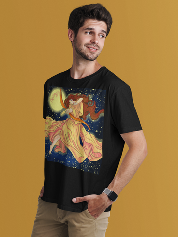 Man wearing roman goddess diana black t-shirt