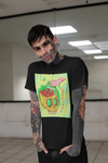 Tattooed man wearing black tee in hallway