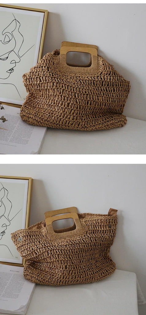 Korean caramel color hand wind straw bag handbags lady summer large capacity french retro beach bag