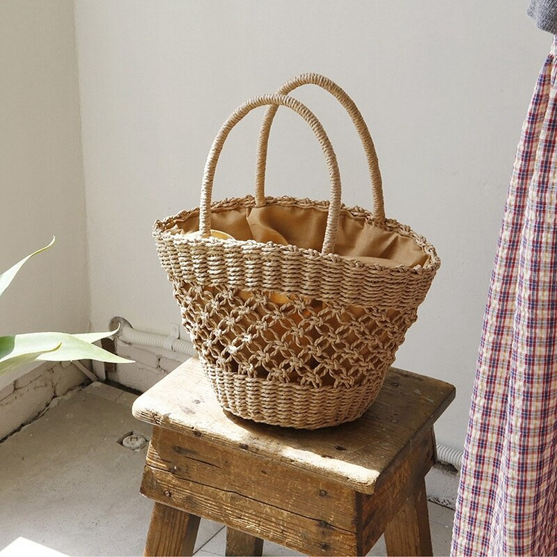 Fashion Beach Handbags Ladies Hand Bag Tote Travel Clutch Bohemian Hollow Straw Bag Women Summer Wicker Basket Bag