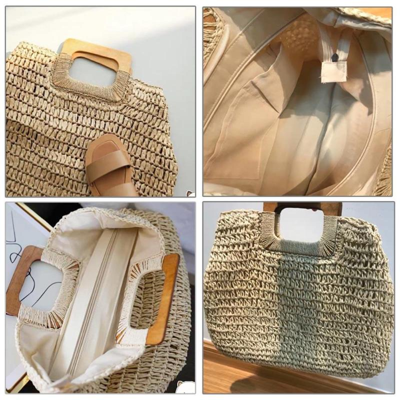 Vintage Bohemian Straw Bag for Women Summer Large Capacity Beach Handbags of Rattan