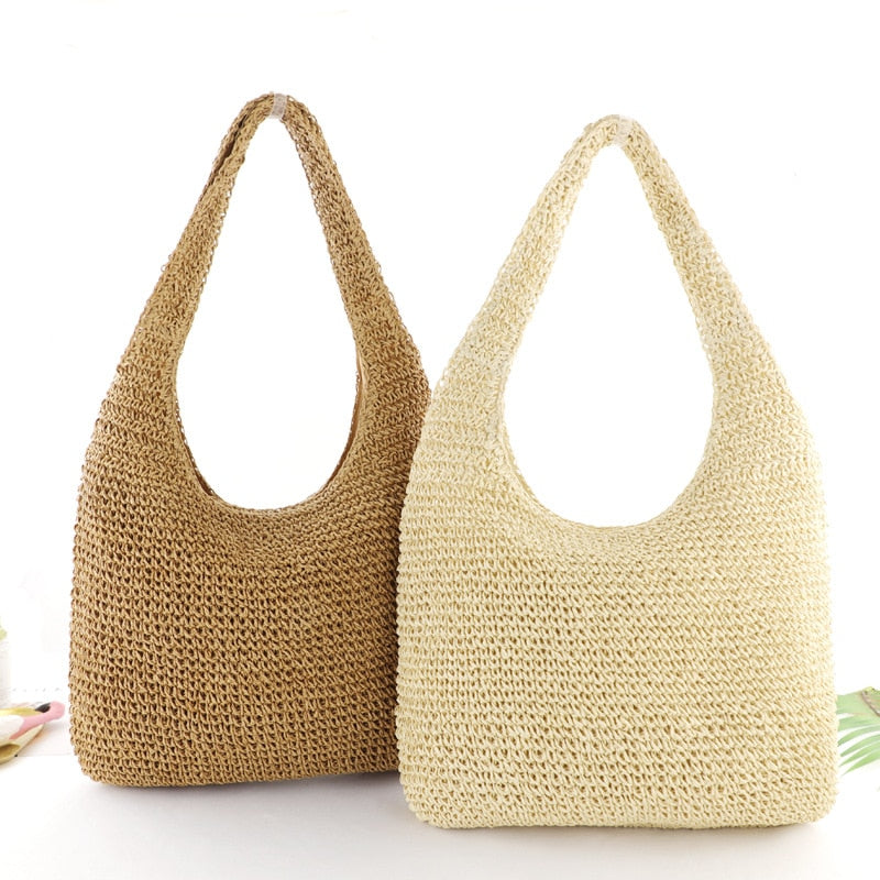 Solid color straw bag, simple fashion woven bag, beach bag, Women's casual bag