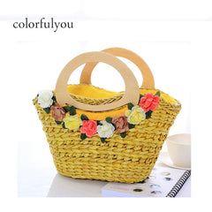 Floral Woven Straw Bag For Women Rattan Handbag With Zipper Ladies Beach Tote Bag Yellow Red Two Color 2019 Summer New Fashion