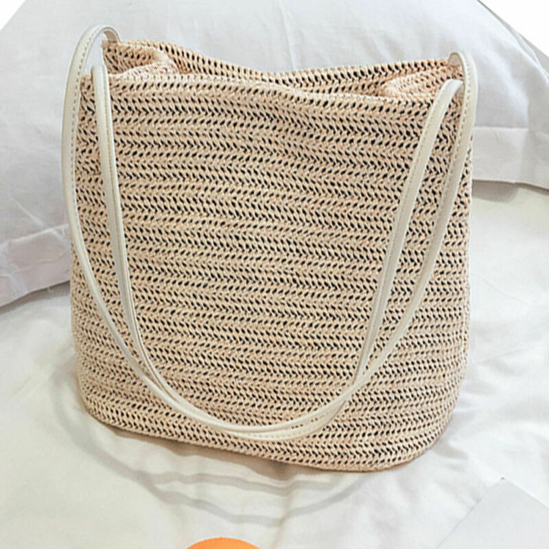 2020 New Vintage Women Girls Bohemian Rattan Straw Bag Woven Bucket Handbag Crossbody Fashion Beach Summer Bags