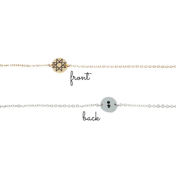 Hope Symbol + Semicolon - Small Charm Bracelet/Anklet
