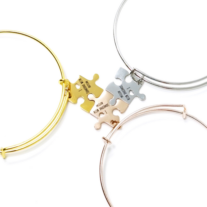 """I Love Someone With Autism"" Bangle Bracelet - with Puzzle Piece Charm"