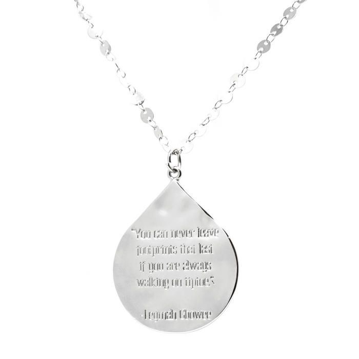"Leymah Gbowee ""You can never leave footprints..."" Quote Pendant Necklace"