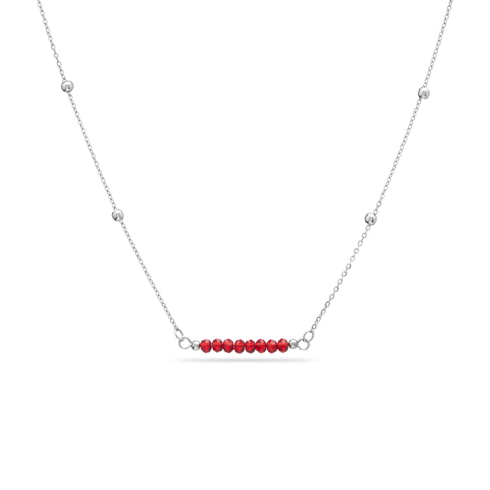 Dainty Birthstone Necklace - with bead and ball chain