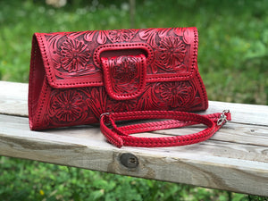 "Hand-Tooled Leather, Large Crossbody & Clutch, ""Lengueta"" by ALLE more colors"