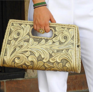 "Hand-Tooled Leather Large Clutch Bag ""Envelope"" by ALLE more Colors"