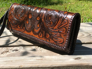 "Hand Tooled Leather Clutch - Wristlet ""Oaxaca"" by ALLE, Vintage Boho style"