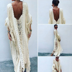 "ALLE BOHO ""BO"" MAXI COVER UP BEACH DRESS ORGANIC CLOTHING"