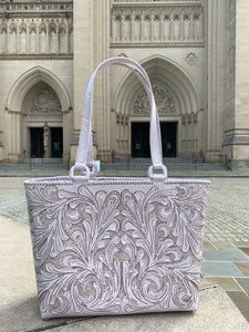 "Hand-Tooled Leather, Tote Bag ""Charly"", by ALLE, more Colors"