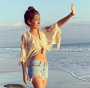 "ALLE BOHO ""CROP TOP"" COVER UP BEACH TOP ORGANIC CLOTHING"