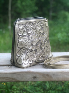 "Hand-Tooled Leather Large Crossbody ""Catalina"" by ALLE more Colors"