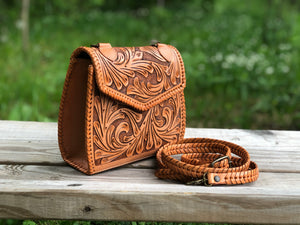"Leather Crossbody ""Ericka"" by ALLE Full-grain Hand-Tooled Leather more Colors"