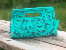 "Load image into Gallery viewer, Hand-Tooled Leather Small Clutch Bag ""Envelope"" by ALLE more Colors"