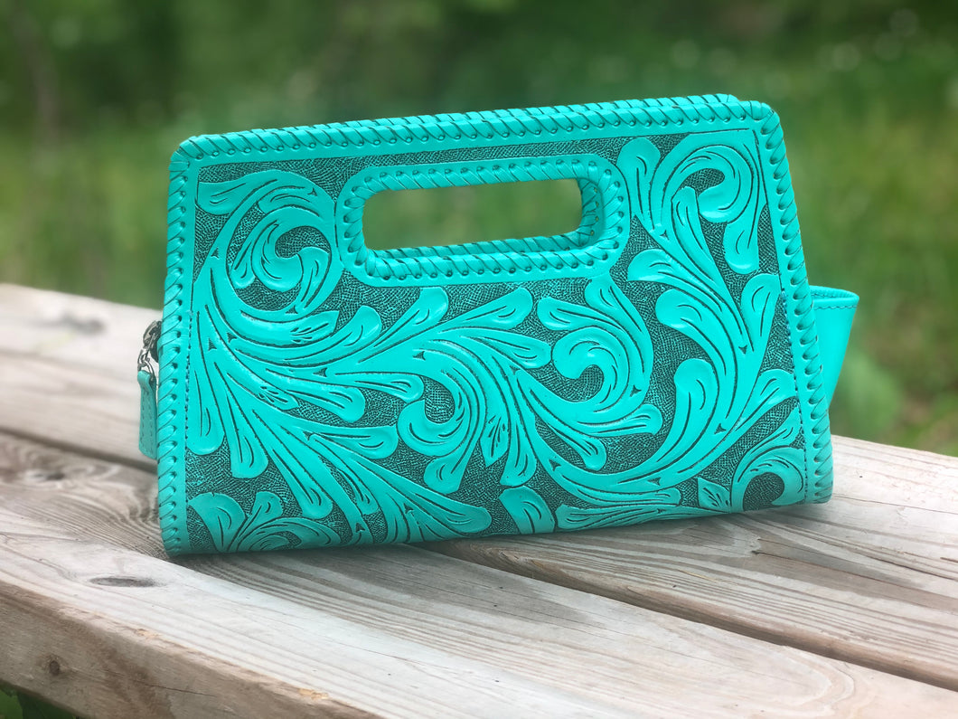 Hand-Tooled Leather Small Clutch Bag