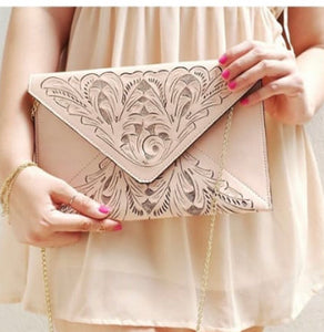 "Leather Crossbody & Clutch Bag ""Triangulo"" by ALLE Full grain Hand Tooled Leather"